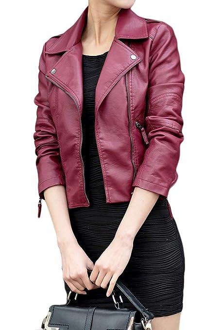 Jacken Damen Große Größen Fashion Normallacks Langarm Mit Zipper Lederjacke Marken Slim Fit Vintage Casual Kurzes Kunstlederj