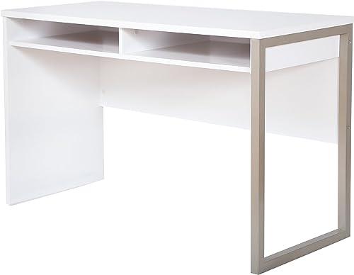 Interface Desk Sleek Metal Finish Open Storage