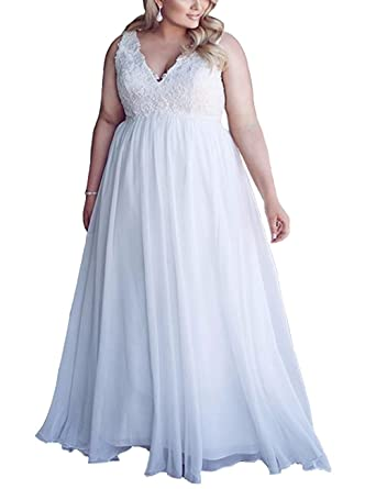 Amazon.com: Chic Maternity Wedding Dresses for Bride Plus Size White ...