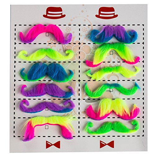 Tigerdoe Mustache Party Supplies - Tye Dye Mustaches - Neon Party Supplies - (12 Pack) by