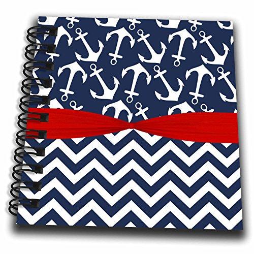 3dRose Anne Marie Baugh - Patterns - Cute Blue and White Nautical Sailing Anchors and Chevron Stripes - Mini Notepad 4 x 4 inch (db_274076_3)
