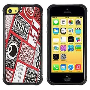 """Hypernova Defender Series TPU protection Cas Case Coque pour Apple iPhone 5C [Cartas Caligrafía roja a cuadros Patter""""]"""