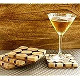 GoCraft Handmade Wood Slice Coasters for your Drinks, Beverages & Wine/ Bar Glasses (Set of 4)