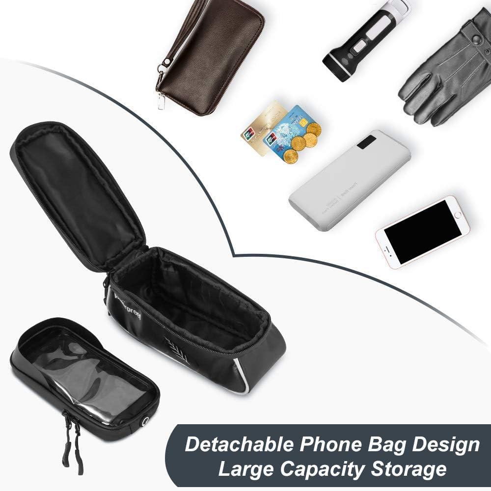 WOTOW Bolsa de soporte para tel/éfono impermeable para bicicleta MTB Bike Marco frontal TPU Pantalla t/áctil Bolsa de ciclismo Soporte para tel/éfono de hasta 6.6 pulgadas