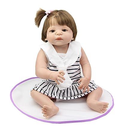 Soft 23 Inch Realistic Silicone Baby Dolls Full Soft Vinyl Reborn Newborn  Babies Children Birthday Xmas 6d72639838