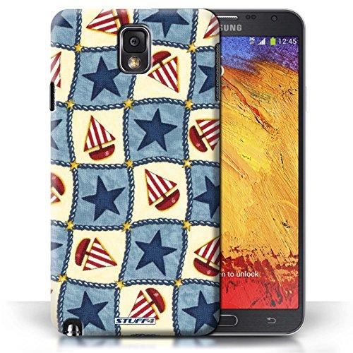 Etui / Coque pour Samsung Galaxy Note 3 / Bleu/Rouge conception / Collection de Bateaux étoiles