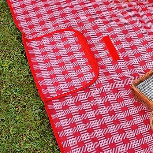 Kyman Outdoor Picnic Mat Pieghevole Portatile Tappetino-Red Lattice_145 * 80