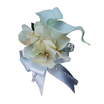 Amazon.com: Wrist Corsage - Double Calla Lily with Hydrangea ...