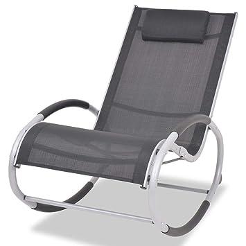 Vidaxl Aluminium Textilène Chaise À De Et Bascule Jardin Meuble Nn80mvw