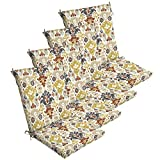Comfort Classics Inc. Set of 4 Outdoor Dining Chair Cushions 20''x 44''x 3.5''T; H-24 in Polyester Fabric Topaz Kenda Ikat by