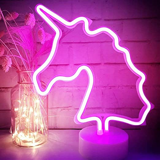 XIYUNTE Unicorn Lights Pink Neon Signs - LED Lights with Pedestal ...