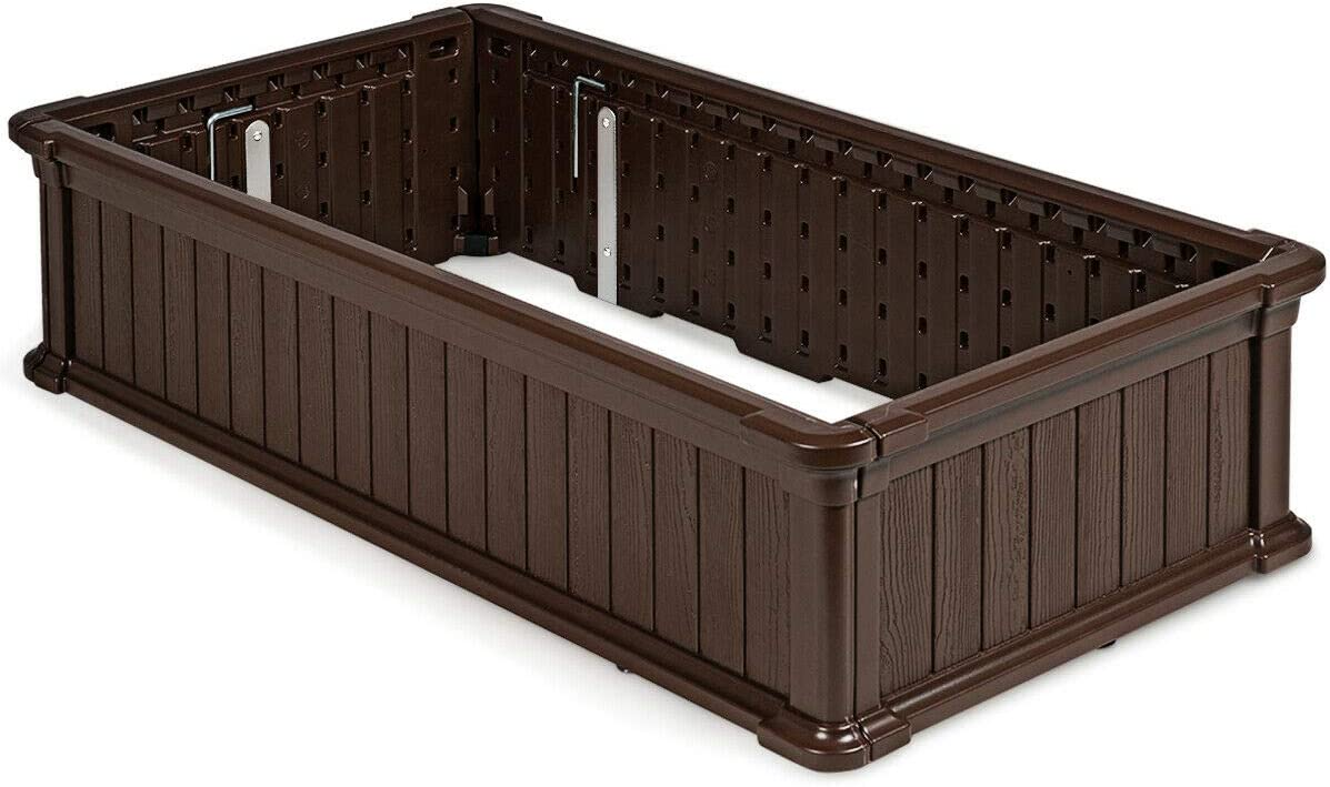 Rectangular HDPE Elevated Flower Plant Garden Bed Box Vegetable Planter, Herb Durable Beautiful Perfect Yield Blend for Small Patios, Decks, Condos, and Apartments Patio Garden Brown 48 x 24 Inch