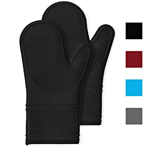 Gorilla Grip Premium Silicone Non Slip Oven Mitt Set, Flexible Oven Gloves, Professional Heat Resistant Kitchen Cooking Mitts, Protect Hands from Hot Surfaces, Cookie Sheets, Black Pair, Set of 2
