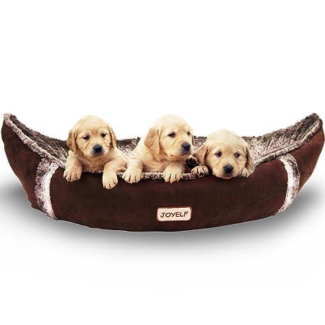 JOYELF Cama de perro mediana ortopédica con funda extraíble lavable para perro barco cama para perros