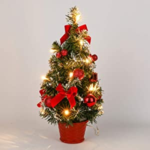 CRTEPST 15 Inch Small Tabletop Christmas Tree, Artifical Mini Xmas Pine with Led Light Up Red Ornaments