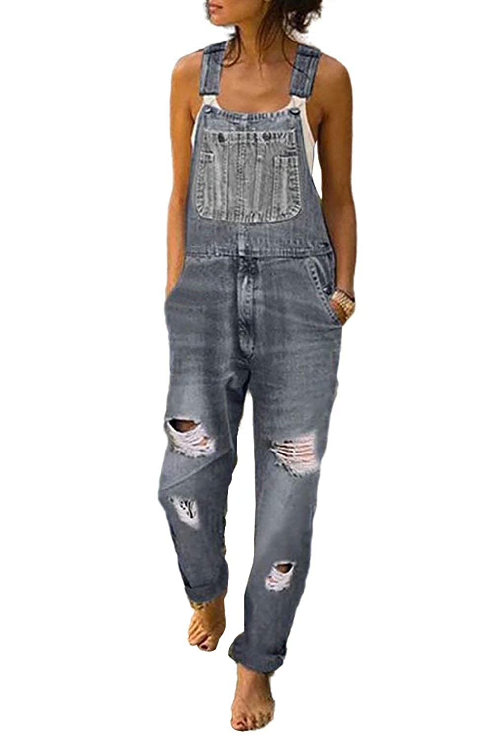 Newest Womens Casual Stretch Jumpsuit Washed Ripped Hole Denim Overalls Baggy Denim Bib Overalls