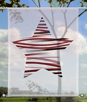 gardinen-for-life Scheibenhänger Wave Stars Red rechteckig ...