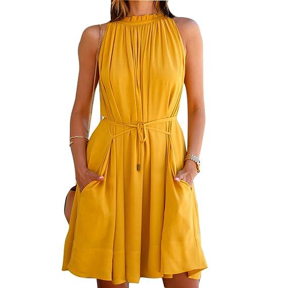 Sin Mangas Vestido para Mujer Fuera del Hombro Vestidos Plisado con Bolsillos Moda Color Puro Verano