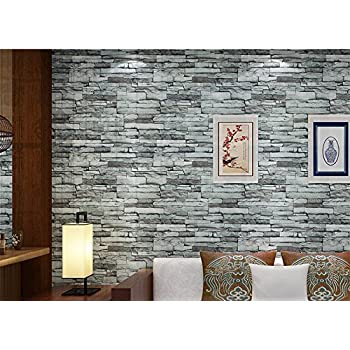 Modern 21 Inch By 394 Inch Stone Texture Pvc Waterproof Brick Wallpaper  Wall Decor Wall Murals for Restaurant,Bedroom,Hotel,Living Room,Walls (021)