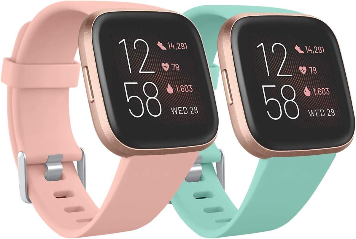Ouwegaga Compatible con Fitbit Versa Correa/Fitbit Versa Lite Correa/Fitbit Versa 2 Correa, Banda de Repuesto de Silicona para Fitbit Versa, Grande Rosa/Turquesa