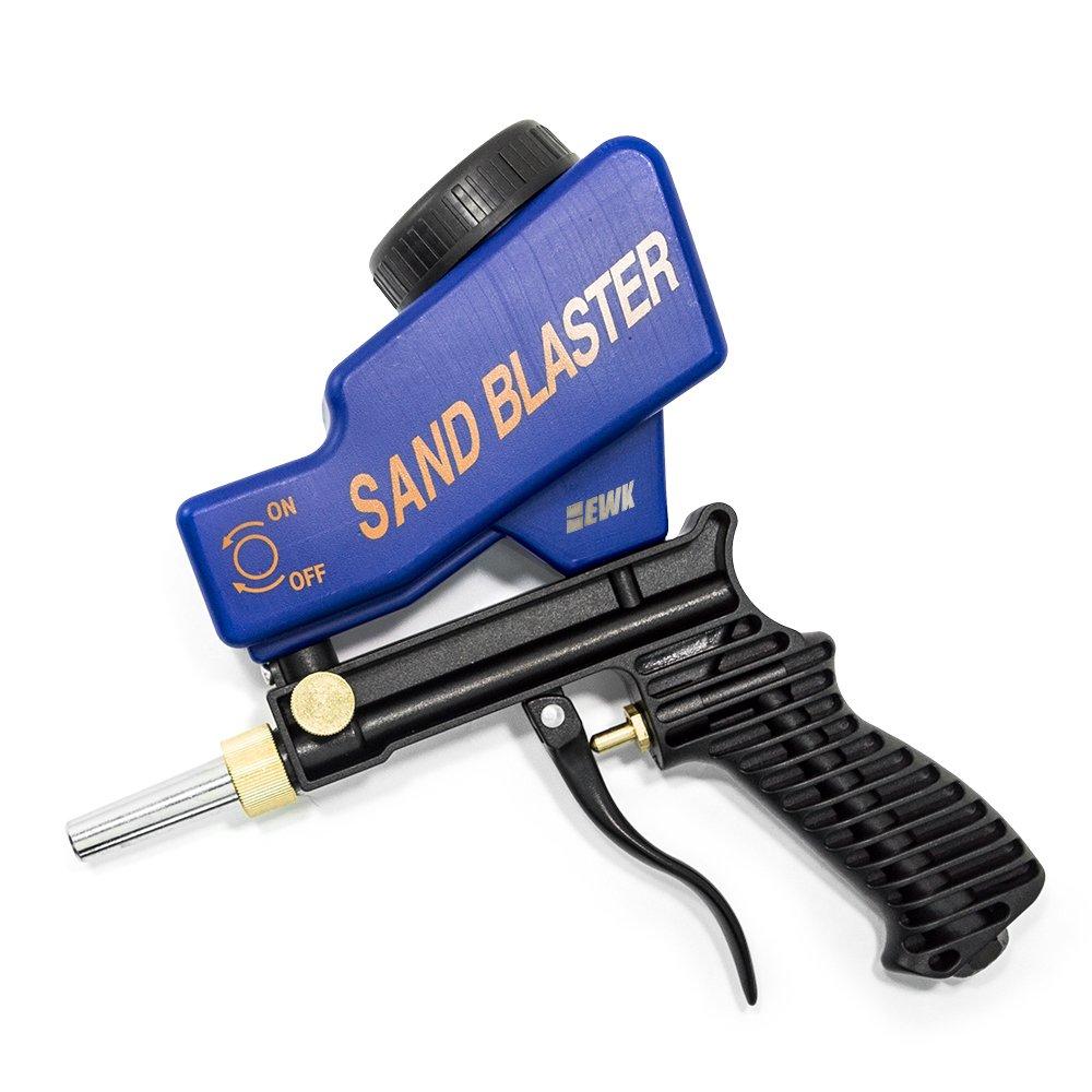 EWK Portable Media Spot Sand Blaster Gun, Gravity Feed Hand Held Sandblaster, Rust Remover