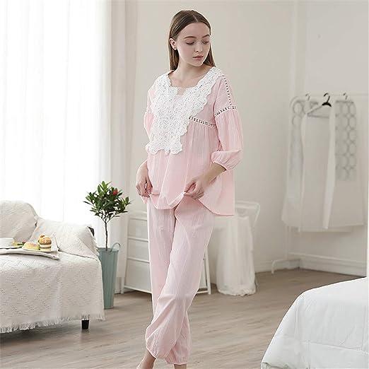 YuFLangel Pijama para Mujer Señoras de algodón Suave Primavera ...