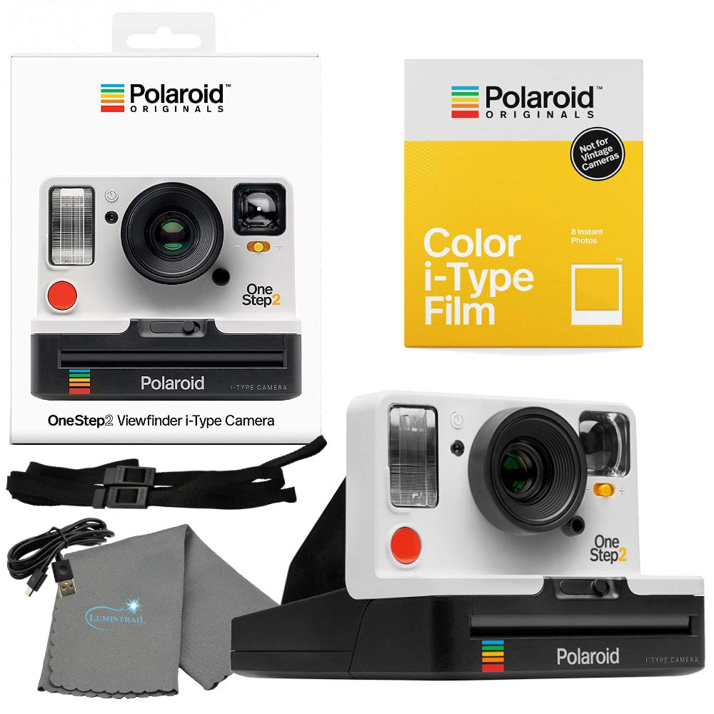 Polaroid OneStep 2 Viewfinder i-Type Camera 9008 White Bundle with a Color i-Type Film Pack 4668 (8 Instant Photos) and a Lumintrail Cleaning Cloth