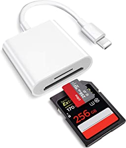 2 in 1 Lightning to SD Card Reader for iPhone, [Apple MFi Certified] Dual Slot Micro SD TF Memory Card Reader Adapter, Trail Game Camera SD Card Viewer, Quickly Transfer Photos Videos Plug and Play
