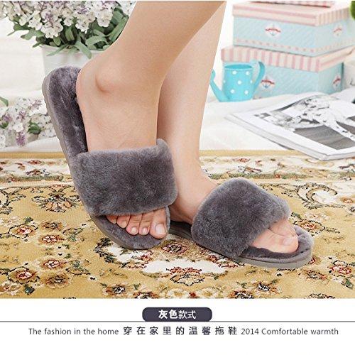 LaxBa Lhiver au chaud, lhiver Chaussons Chaussons moelleux Accueil chaleureux en hiver, chaussures antiglisse gris Bottines35