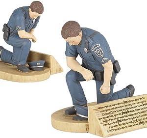 Dicksons Police Officer's Prayer, Kneeling in Uniform 4.5 x 5.5 Resin Stone Tabletop Figurine