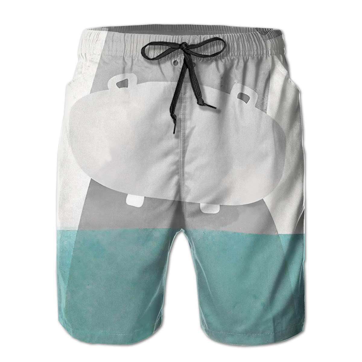 Cute Hippo Mens Summer Surf Board Shorts Quick Dry Pants with Pockets M White