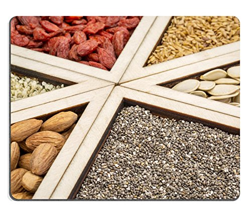 Price comparison product image Luxlady Gaming Mousepad IMAGE ID: 32765229 superfood abstract chia seeds dried goji berries golden flax pumpkin seeds almonds and hearts