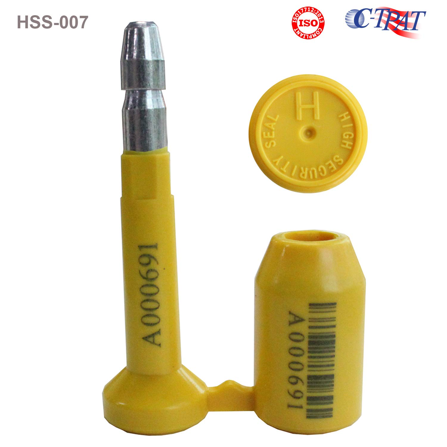 10pcs ISO and C-TPAT Certified High Security Bolt Seals for Container, Railway, Trailer, Truck, and Wagon Door Latches (Model HSS-007, Yellow, Unique Barcodes - TamperSeals) by TamperSTOP