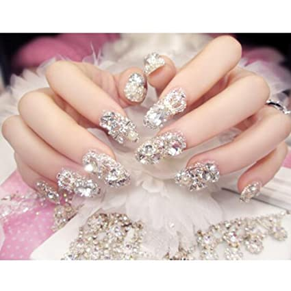 bc08396516 Dongcrystal 24pc 3D False Nails Bling Glitter Fake Full Nail Tip Imperial  Crown Rhinestone Decor Bowknot Nail Art