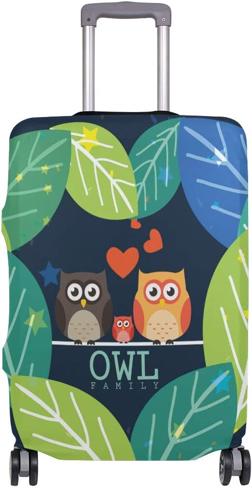 FOLPPLY Cute Cartoon Owl Family Luggage Cover Baggage Suitcase Travel Protector Fit for 18-32 Inch