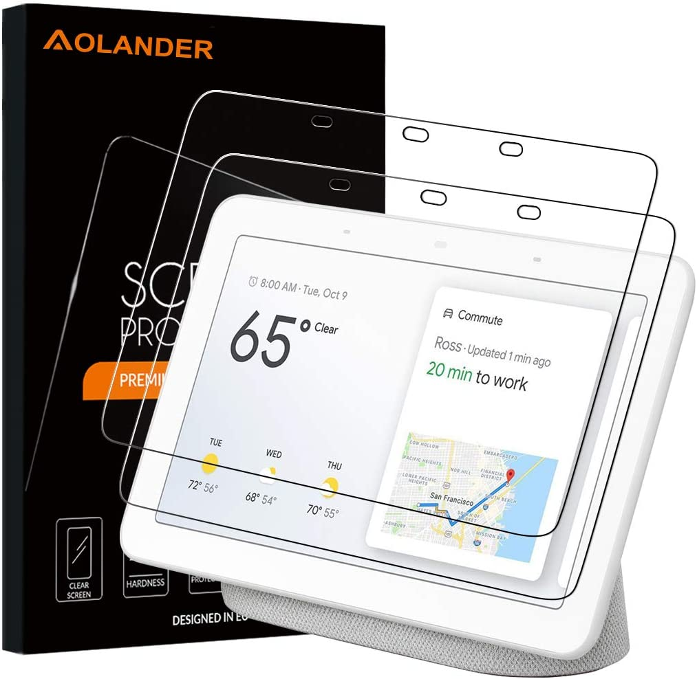Aolander [2 Pack] Screen Protector for Google Home Hub 2018,[2.5D Round Edge] [9H Hardness] [High Definition] [Bubble Free] Tempered Glass Screen Protector for Google Home Hub Smart Speaker (7 Inch)