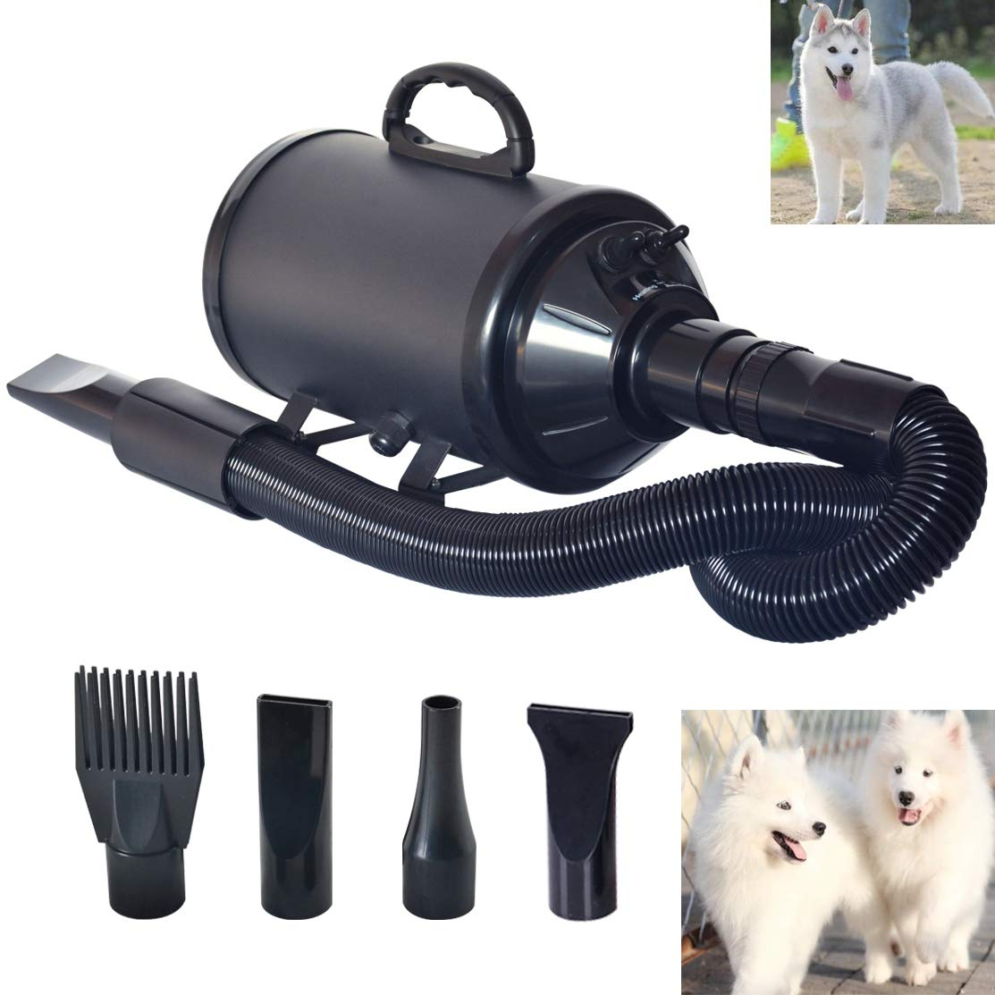 C&W Dog Dryer Noise Reduction Pet Dryer with Heater Dog Blower 3.2HP Adjustable Speed and Temperature Spring Hose and 4 Different Nozzles Black Color by C&W