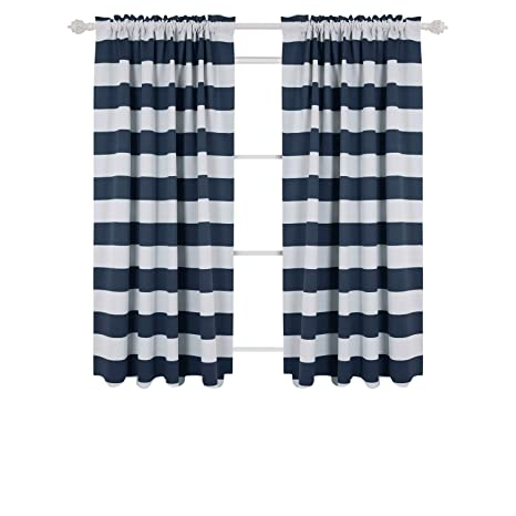 Deconovo Navy Blue Striped Blackout Curtains Rod Pocket Nautical And Greyish White For