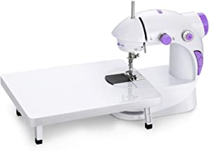 Joypea Mini Portable Sewing Machine with Extension Table,Adjustable Double Speed Crafting Mending Machine with Foot Pedal,for Household Kids Beginners