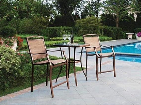 Mainstays Sand Dune 3 Piece Outdoor High Bistro Set Seats 2 Garden Outdoor