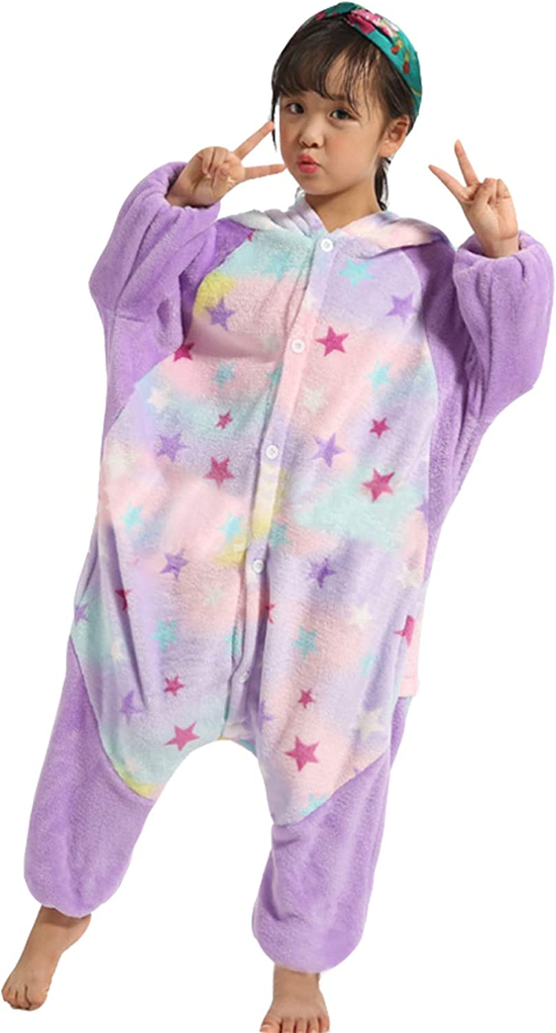 De feuilles Kids Girls Soft Hooded Jumpsuit Fleece Onesie All in One Romper Playsuit Outfits