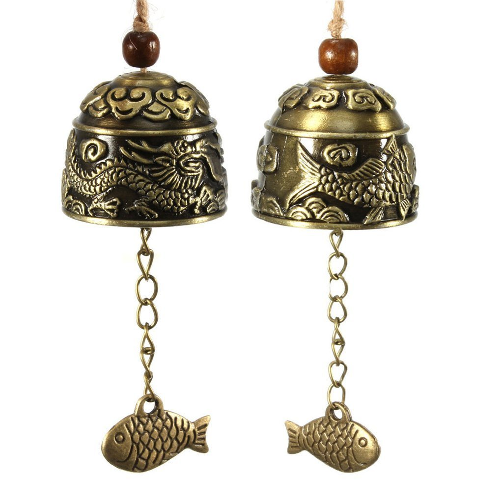 Conjugal Bliss 2PCS Copper Alloy Bells Chimes Small Wind Chimes Door Portable Outdoor Decor for Patio Deck Yard Garden Home Pathway Decorative Gift Essentials (Brass)