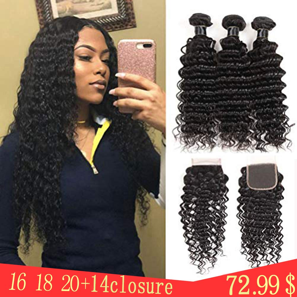 Brazilian Virgin Deep Wave Hair Bundles With Closure 9A Grade 100% Unprocessed Deep Curly Human hair 3 Bundles With 44 Lace Closure Free Part(16 18 20+14closure) by Gemei hair