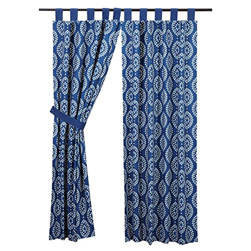 VHC Brands Coastal Window Curtains - Paloma Blue Tab Top Sho