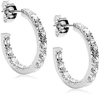 Tuscany Silver Women's Sterling Silver Channel Set Cubic Zirconia 22 mm Creole Earrings 8.58.3519 abgyWq