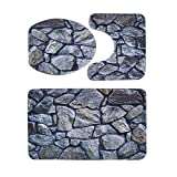 WinnerEco Toilet Mat Set, 3pcs Flannel Print Anti-skid Pad Bath Floor Carpet Toilet Mat Home Decor(2)