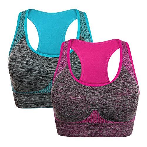 nine bull Women Racerback Sports Bras - Removable Padded Seamless for Yoga Gym Workout Fitness Activewear Bra (Youth Racerback Bra Sports)