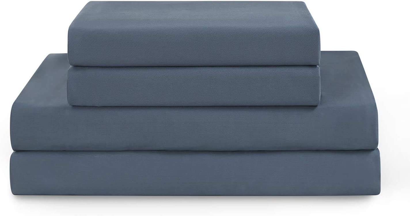 YnM Weighted Blanket with Bamboo Sheet Set Bundle   48x72 20lbs Blue Grey Use on Full Bed ,Suit for One Person ~190lb