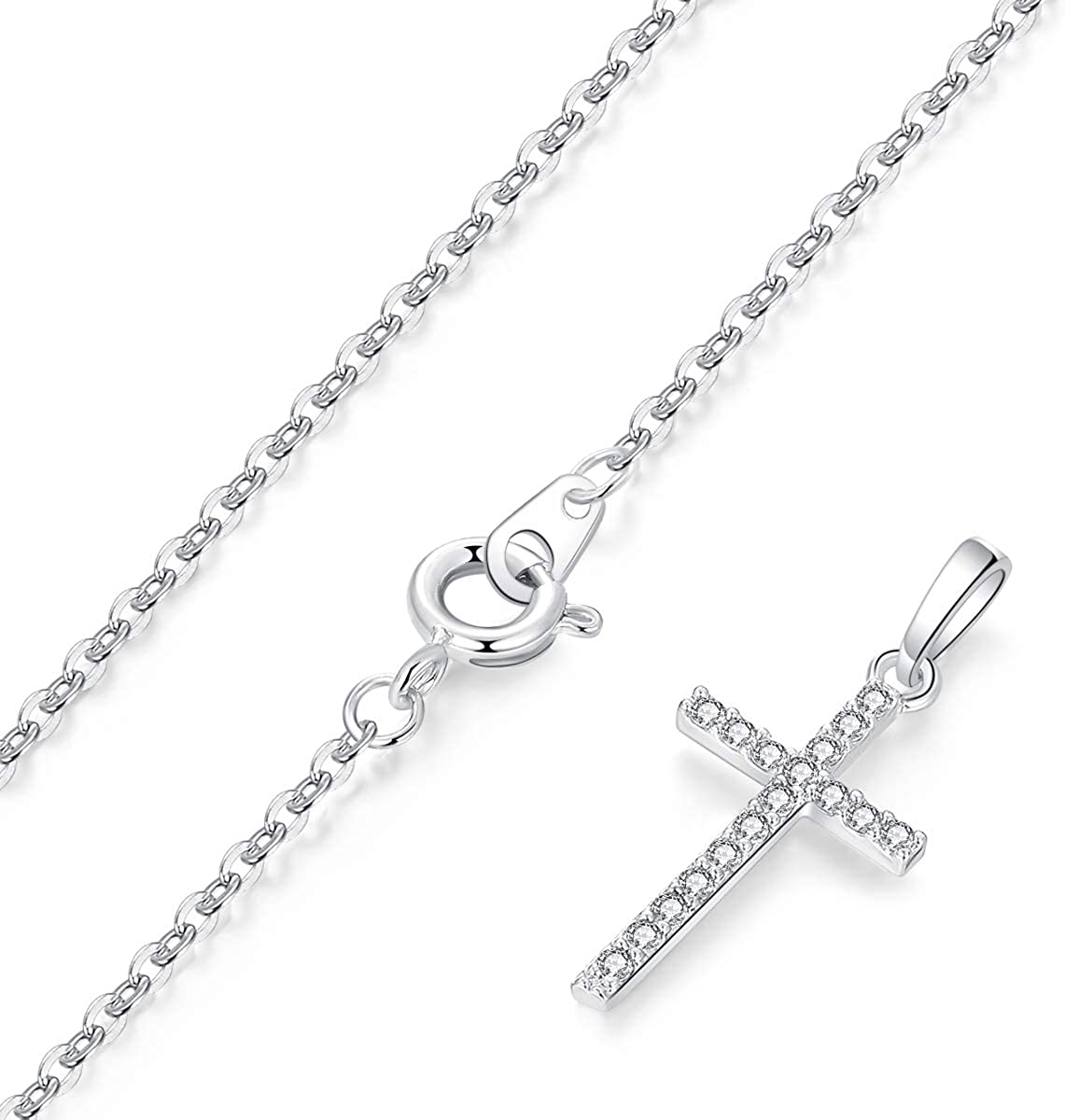 HOFOUND Damen Cross Kette Zirkonia im Kreuz Anh/änger Halskette Kettenanh/änger f/ür Frauen M/ädchen