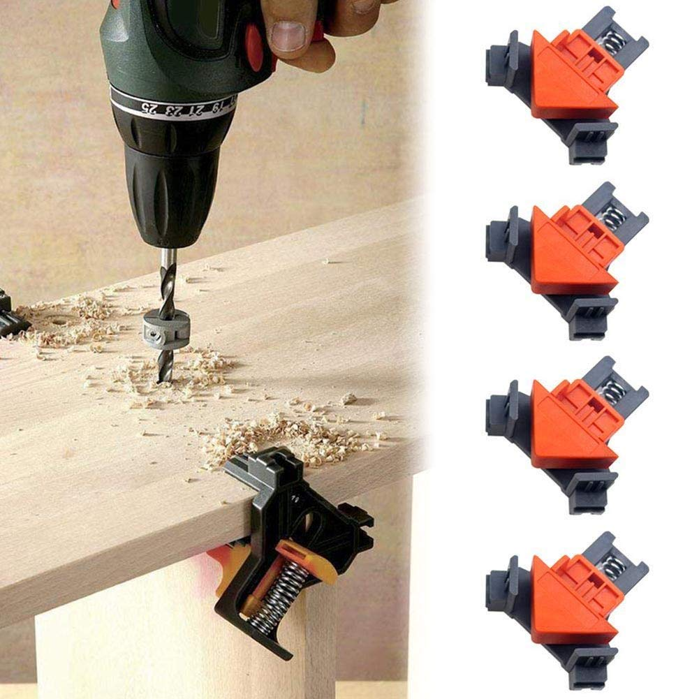 Multifunction Drill Woodworking Positioning Right Angle Locator Retainer 4Pcs Corner Clamp 90/° Right Angle Corner Locator for coner and T-Joints